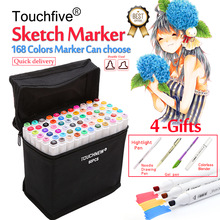 Touchfive 30/40/60/80/168Colors Pen Marker Set Dual Head Sketch Markers Brush Pen For Draw Manga Animation Design Art Supplies