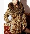Nueva Famosa Marca de Moda de Piel de Leopardo de Impresión Capa Ocasional de Las Mujeres Mapache Cuello de piel Gruesa Chaqueta Larga de Algodón Más El Tamaño de Abrigo J05