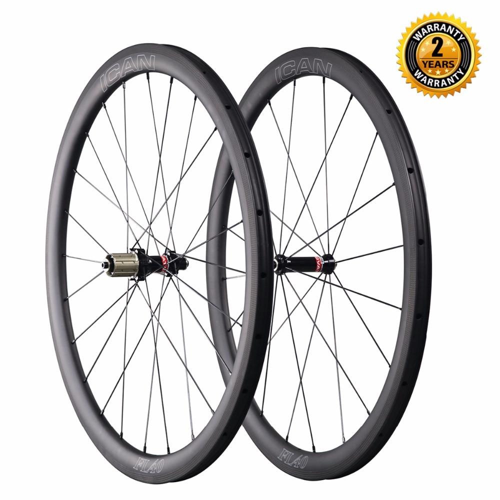 700C carbon wheels China 40mm clincher road bike wheel with 25mm U shape rim Novatec straight pull hub Sapim CX Ray spokes 1404g