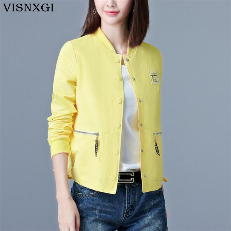 VISNXGI New 2019 Spring Autumn Women   Basic     Jackets   Long Sleeve Zipper Pockets Slim Short Cardigan Coats Casual Outwear Plus Size