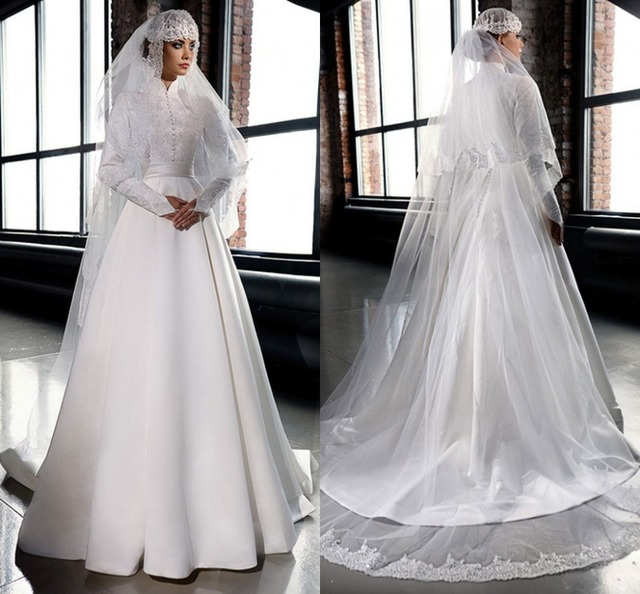 Muslim Hijab White Ivory High Neck Formal Long Wedding Dresses Long ...