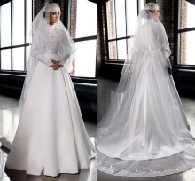Muslim Hijab White Ivory High Neck Formal Long Wedding Dresses Long Sleeves A Line Lace Vintage Bridal Gowns