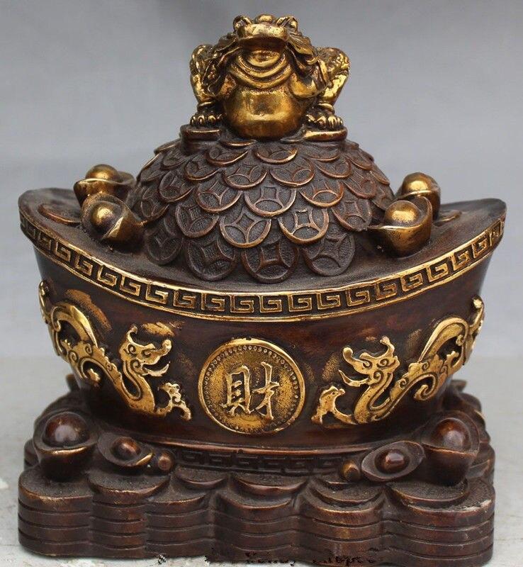 Statue de crapaud d'or de Dragon de Yuanbao de richesse animale dorée de cuivre chinois