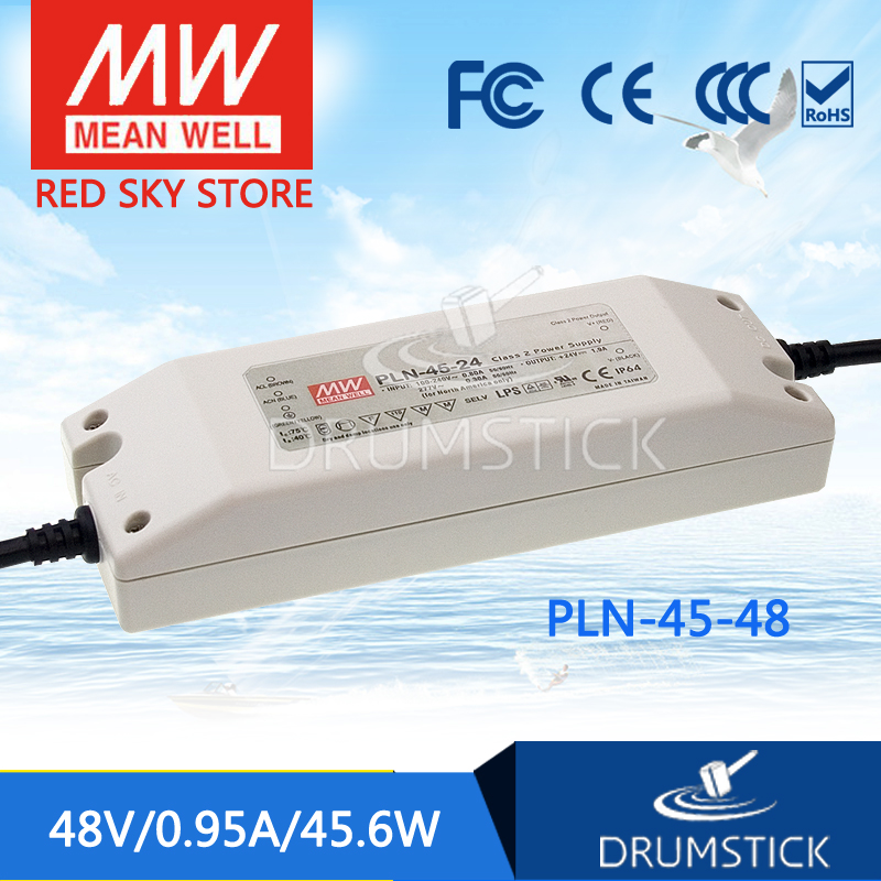 Selling Hot MEAN WELL PLN-45-48 48V 0.95A meanwell PLN-45 48V 45.6W Single Output LED Power Supply цены