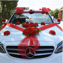 Wedding Car Flower Sets with Bear Decorations Suit Float Romantic Party Supplies