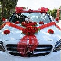 Wedding Car Decoration Silk Flowers with Bear Wedding Car Fake Rose Flowers Garland Decoration Wedding Centerpieces Wreath
