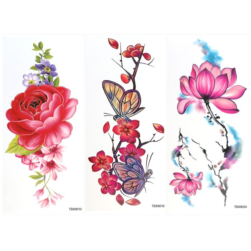 a5b75006f 9 Sheets Temporary Tattoo Rose Peony Flower Butterfly Lotus Cherry Blossoms  Flash Tattoo For Man Woman-in Temporary Tattoos from Beauty & Health on ...