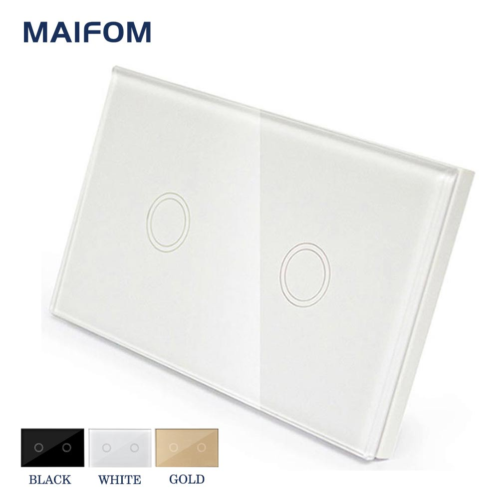 MAIFOM US Touch Light Switch Motion Sensor Wall Switch Interruptor ON/OFF Switch 2 Gang 1 Way Waterproof Tempered Panels smart home us au wall touch switch white crystal glass panel 1 gang 1 way power light wall touch switch used for led waterproof