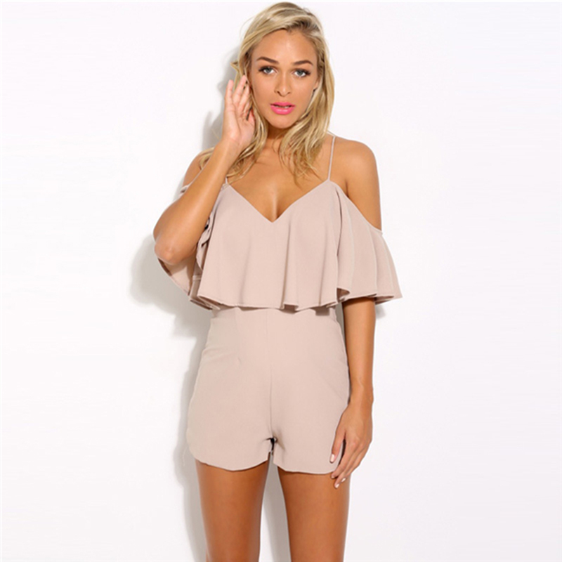 Fashion summer women solid color ruffles jumpsuit sexy strapless tunic rompers playsuits