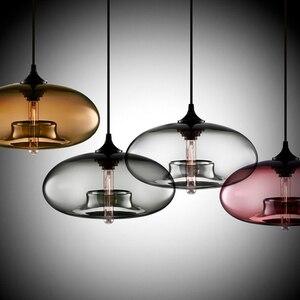 Image 1 - Neue Einfache Moderne Zeitgenössische hängende 6 Farbe Glas ball Anhänger Lampe Lichter Leuchten e27 für Küche Restaurant Cafe Bar