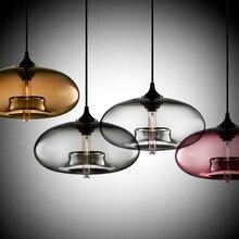 Nuevo Simple contemporáneo moderno colgante de 6 colores bola de cristal lámpara colgante accesorios de luces e27 para cocina restaurante cafetería Bar