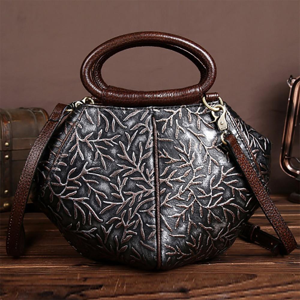 100% Genuine Leather Handbag Women Vintage Trend Hobo Shoulder Messenger Bag Natural Cowhide Cross Body Retro Top Handle Bags