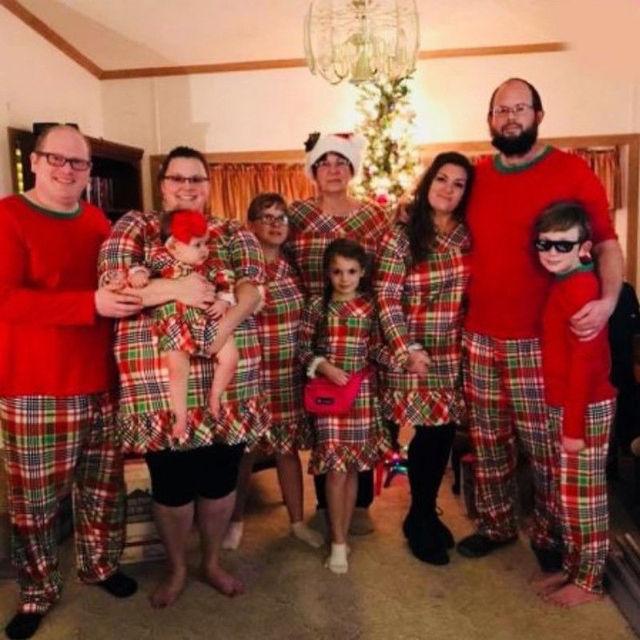 608b0efb05 Family Match Kid Mom Dad Christmas Pajamas PJs Xmas Sleepwear Nightwear Set  Long Sleeve Plaid Parent