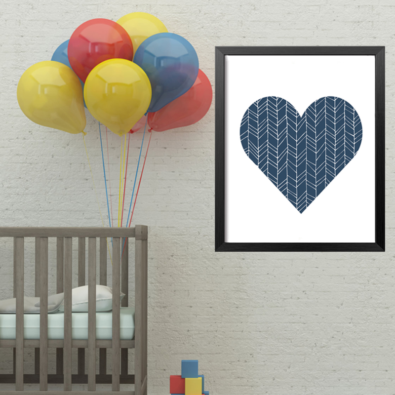 Us 2 88 42 Off Geometric Navy Blue Heart Canvas Painting Nursery Wall Art Poster Print Pictures For Kids Room Home Decor Frameles Drop Shipping In