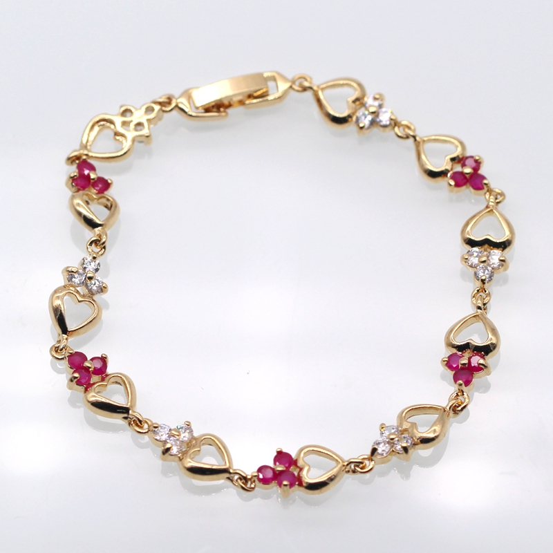 JINYAO Beautiful Style Heart Champagne Gold Color Bracelets Red Zircon Chain Bracelet Bangle For Women Valentine's day gifts