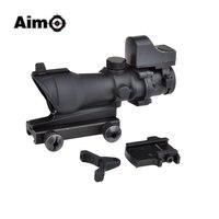 Aim O ACOG 4x32 Optical Rifle Scope And Mini Red Dot Real Red Optic Fiber 1