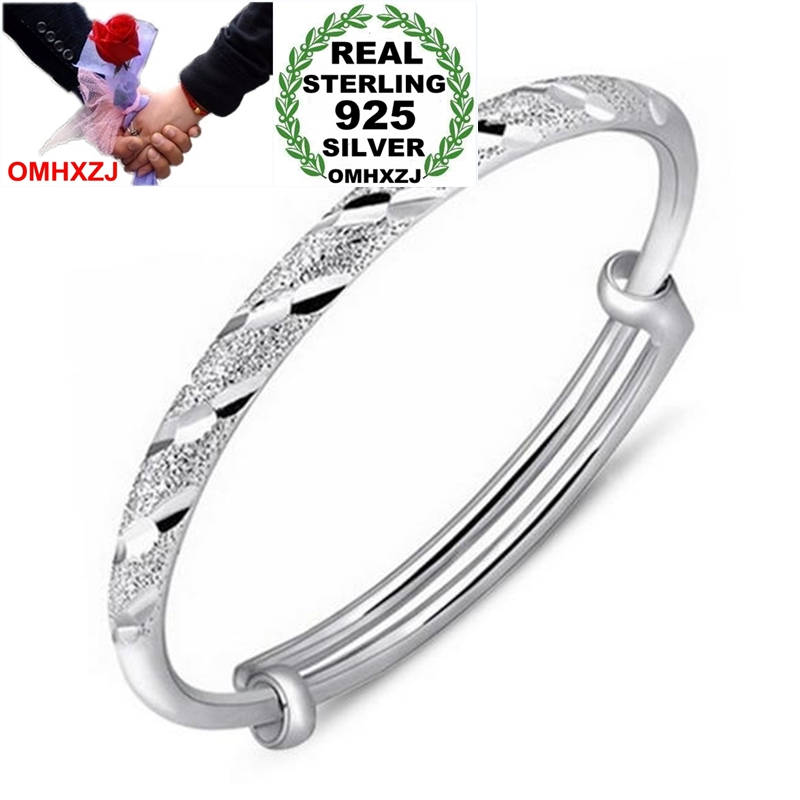 OMHXZJ Wholesale Fashion Star Woman Child Party Gift Meteor Shower Push Pull 925 Sterling Silver Bracelet Bangle Adjustable SZ57