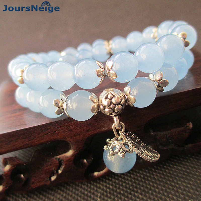 JoursNeige azul cristal pulseras redondo Beads Lucky hoja de plata tibetana colgante para las mujeres cristal pulsera Multilayer joyas