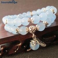 JoursNeige Blue Crystal Bracelets Beads 10mm Lucky Tibetan Silver Leaf Pendant For Lovers Crystal Bracelet Multilayer