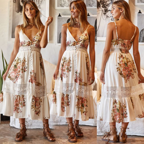Women/'s Elastic Strappy Midi Dress Summer Bow Knotted Floral Beach Boho Sundress