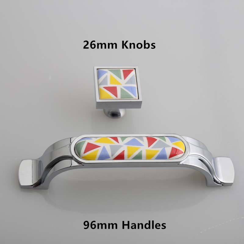 96mm modern simple fashion furniture handles Hand painted Mosaic ceramic drawer kitchen cabinet dresser handle pull Square Knobs