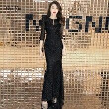 Weiyin 2020 セクシーな O ネックトランペットスパンコールヴィンテージマーメイドエレガントなジッパーパーティー Frocks ドレス床の長さのイブニングドレス WY1458