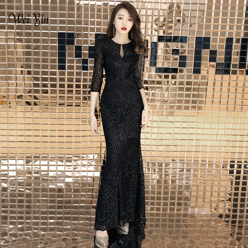 weiyin 2019 Sexy O-neck Trumpet Sequined Vintage Mermaid Elegant Zipper Party Frocks   Dresses   Floor Length   Evening     Dresses   WY1458