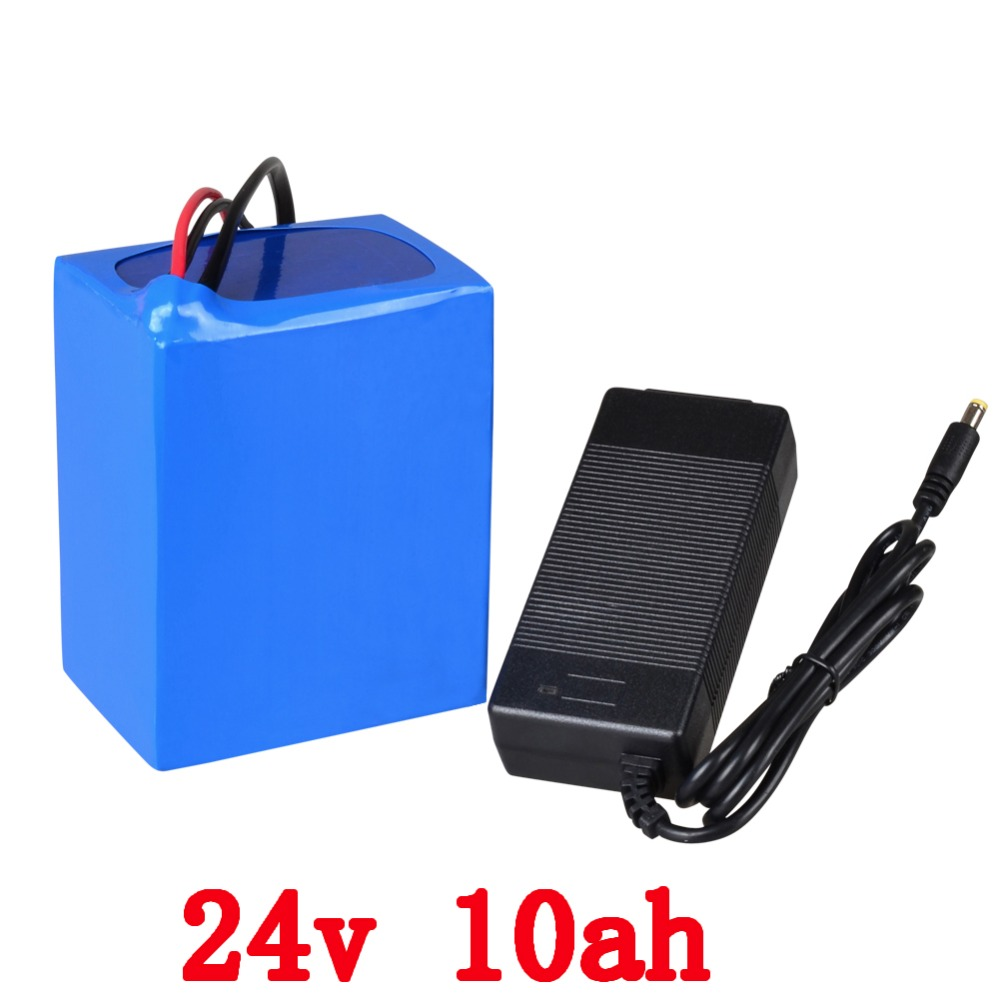 Free shipping rechargeable lithium battery  24v 10ah 350w  lithium ion battery 24v 10ah li-ion battery pack +charger+BMS 30a 3s polymer lithium battery cell charger protection board pcb 18650 li ion lithium battery charging module 12 8 16v