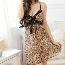 Popular Leopard Style fashion Design women sex house sleep wear dress babydolls chemises