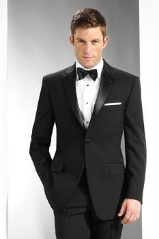High Quality Black Mens Suits Groom Tuxedos Groomsmen Wedding Party Dinner Best Man Suits (Jacket+Pants+Bow Tie) W:34