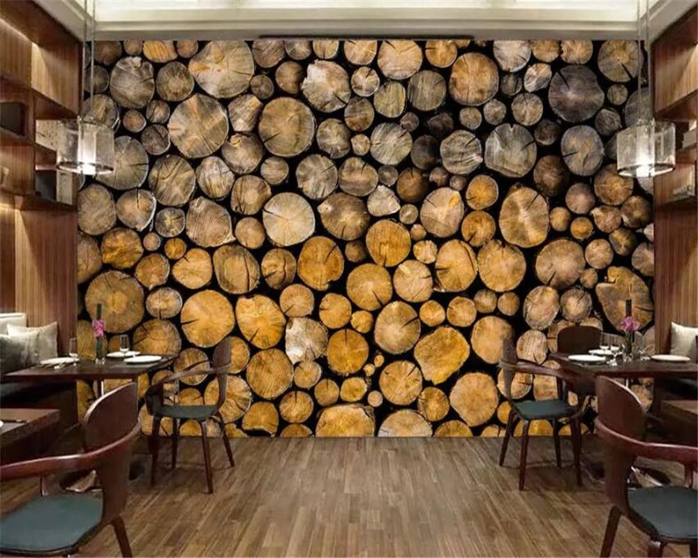 US $8 85 OFF Beibehang Foto Kustom Wallpaper 3D Retro Kayu Restaurant Cafe Wallpaper Ruang Tamu Latar Belakang Kertas Dinding 3D Papel De