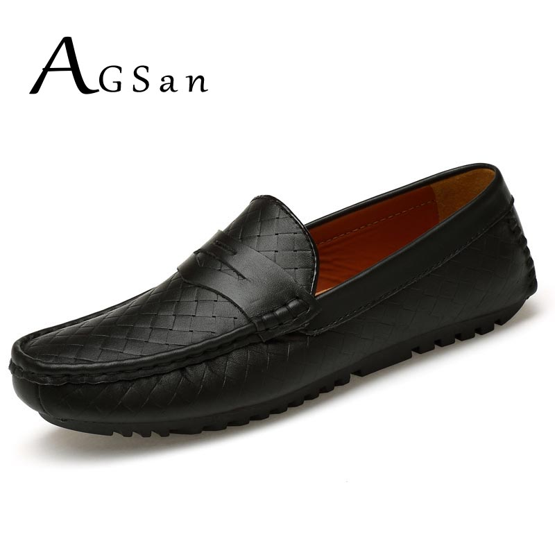 AGSan men penny loafers man classic white black driving shoes luxury brand male plus size genuine leather shoes 46 47 branded men s penny loafes casual men s full grain leather emboss crocodile boat shoes slip on breathable moccasin driving shoes