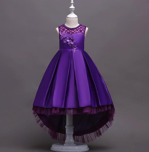 Children's lace performance princess dress girls sleeveless front short back long dancing dress Family Matching Outfits R497