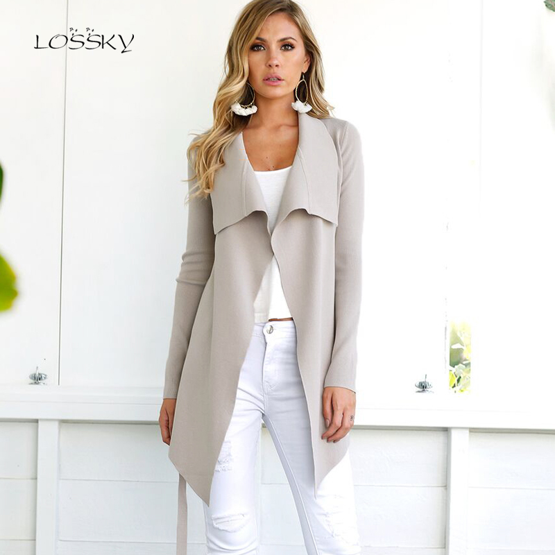 LOSSKY Autumn Women Casual Slim Asymmetric Length Open Stitch V Neck Lace Up   Trench   Elegant Outerwear 2018 New Cardigan Overcoat