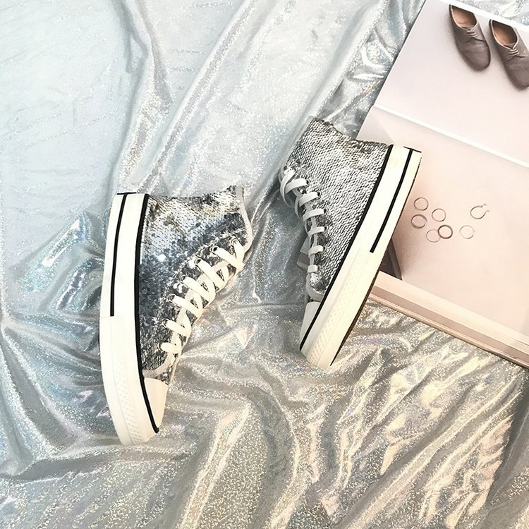 Tleni 2018 New High Top White Women Flats running Shoes Ladies Canvas Shoes lace-up Bling Bling sneaker shoes ZK-20 11