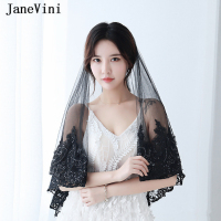 JaneVini Vintage Black Short Wedding Veil One Layer Lace Appliques Edge Sequins Soft Tulle Bridal Veil Women Wedding Accessories