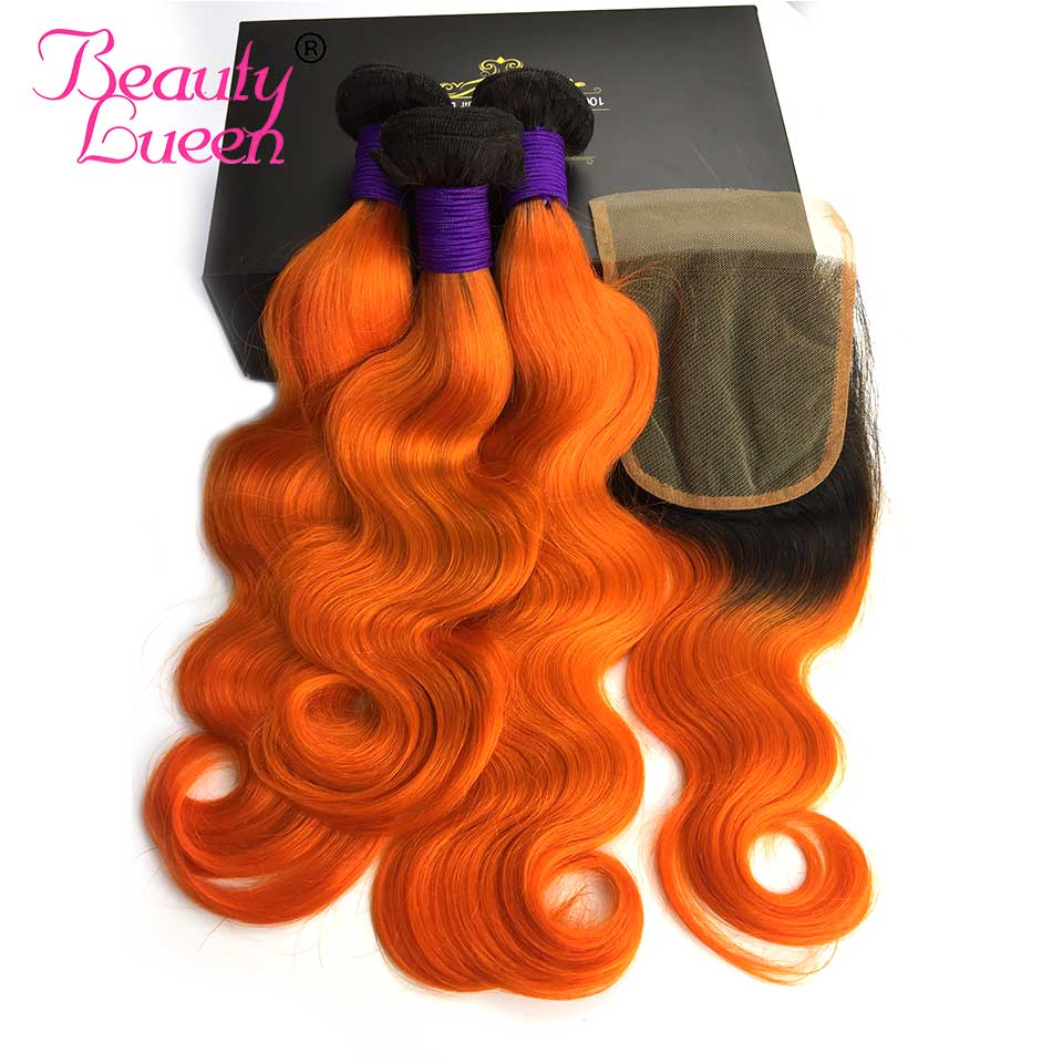 Peruvian Body Wave With Closure Ombre Color T1B Orange Dark Roots 2 Tone Ombre 3 Bundles