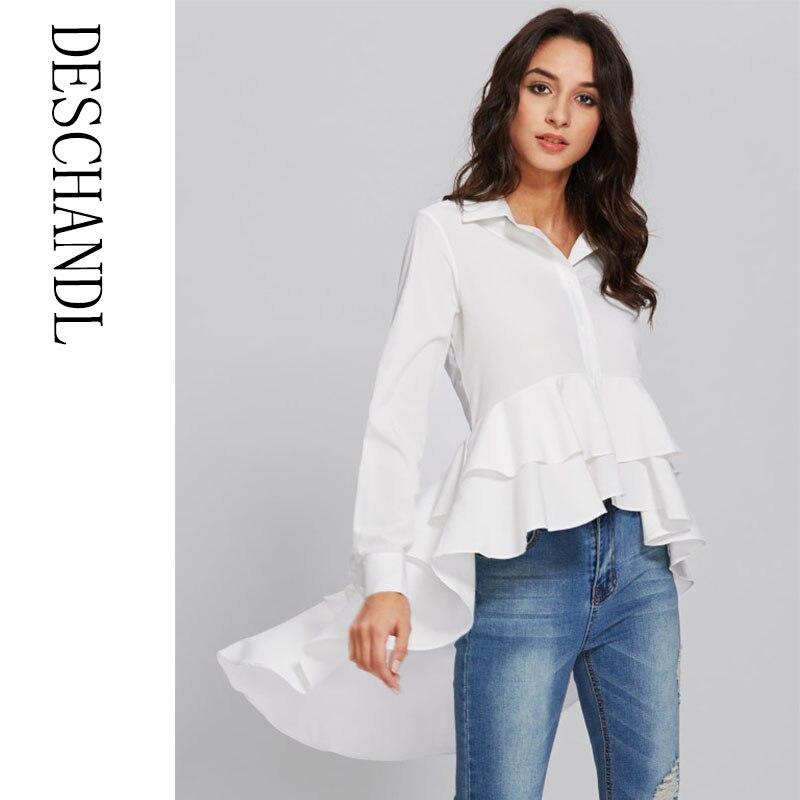 2031d88028d48b Women's white Long Sleeve Irregular High Low Hem Pleated Ruffled Belted  Button Front Fishtail Blouse Shirt Peplum Top | AMO