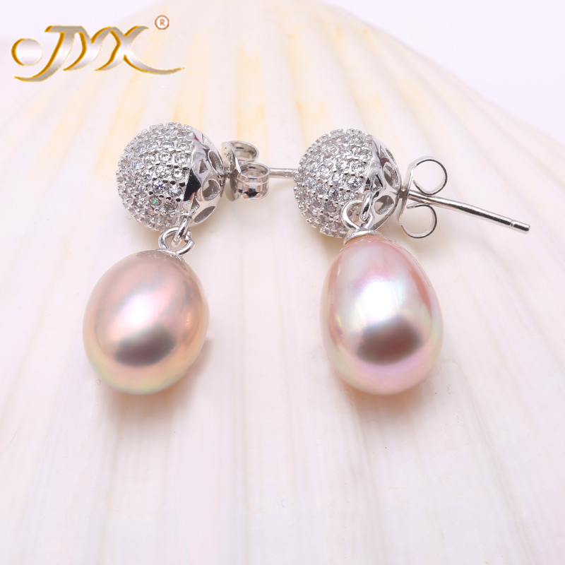 JYX Drop Earring Silver 925 Jewelry Lavender Freshwater Pearl Dangle Earrings-Selected Big Size 9.5*12.5mm Oval-Shape PearlJYX Drop Earring Silver 925 Jewelry Lavender Freshwater Pearl Dangle Earrings-Selected Big Size 9.5*12.5mm Oval-Shape Pearl