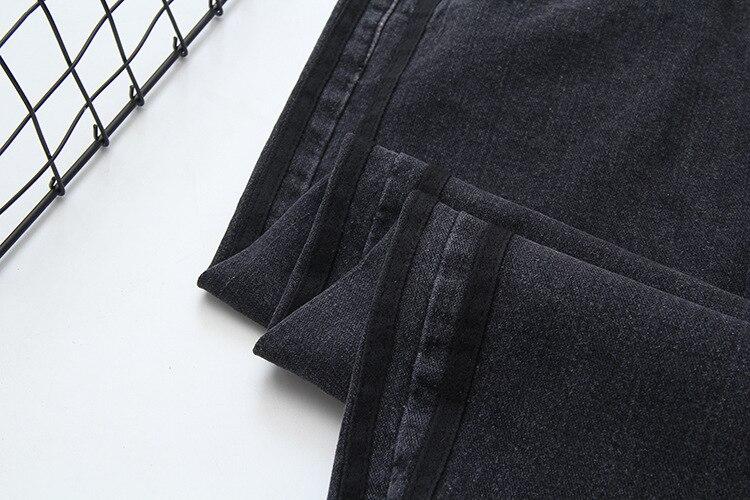 High Waist Jeans Woman Casual Loose Denim Pencil Pants Plus Size Jeans Black Trousers SWM1300