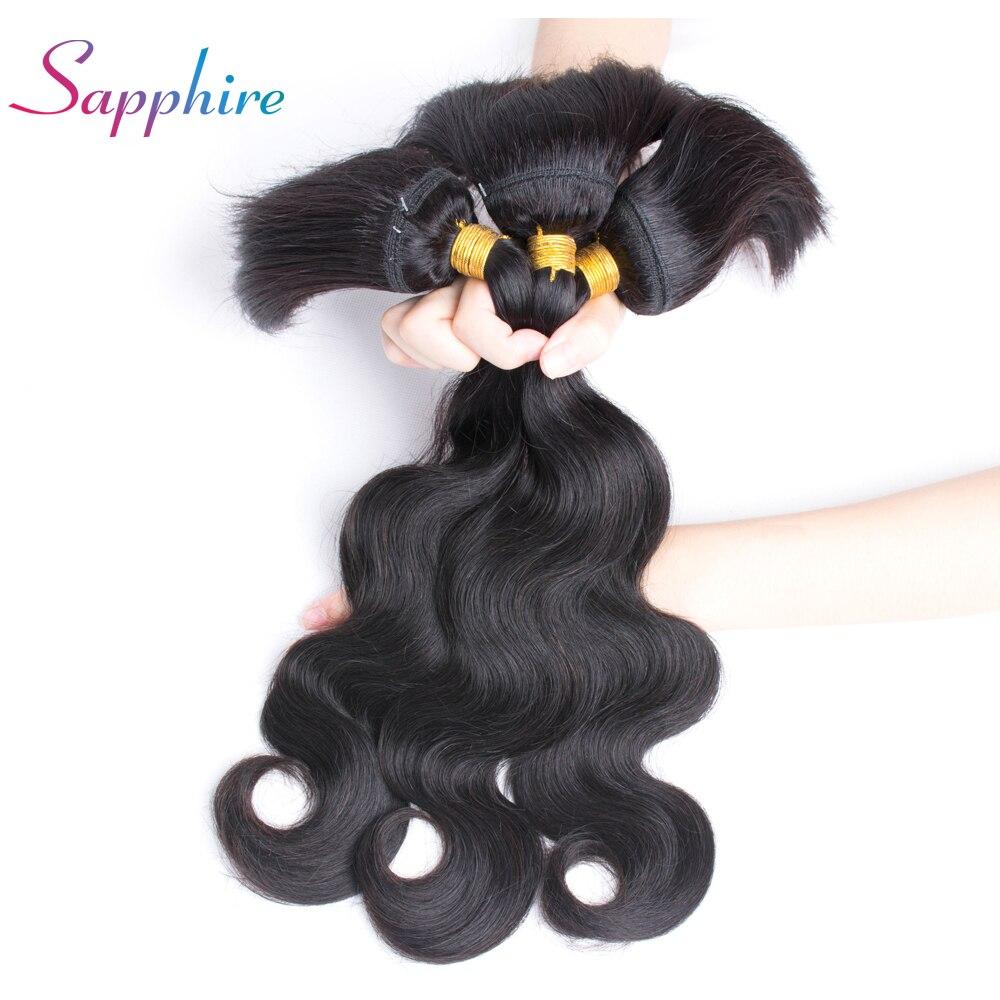 Sapphire Hair Brazilian Straight Hair Braid In Bundles Body Wave Human Hair 3 Bundles Natural Color Free Shipping