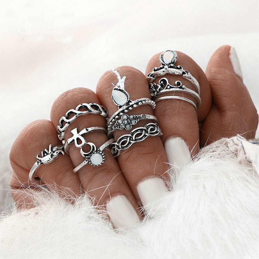 Ethnic Style 10pcs/Lot Bohemian Punk Boho Beach Elephant Knuckle Ring For Women Anel Gold Color Joint Moon Midi Ring Set Unique
