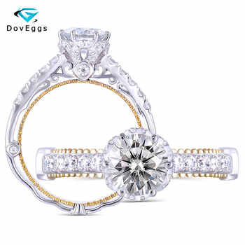 DovEggs sterling 925 solid  Silver Daily Wear 1ct Center 6.5mm GH Color Moissanite Ring for Women with Accents - DISCOUNT ITEM  5% OFF All Category