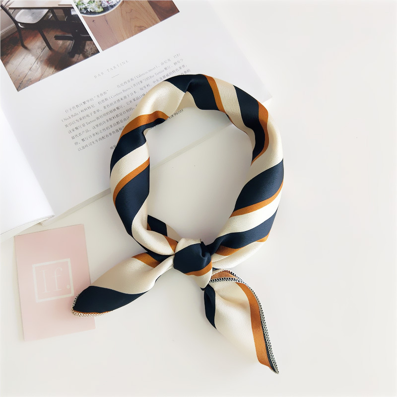 Women 50*50 Small Soft Hair Tie Band Decorative Multifunctional Head Scarf Multicolor Stripe Print Kerchief Neck Elegant Square(China)