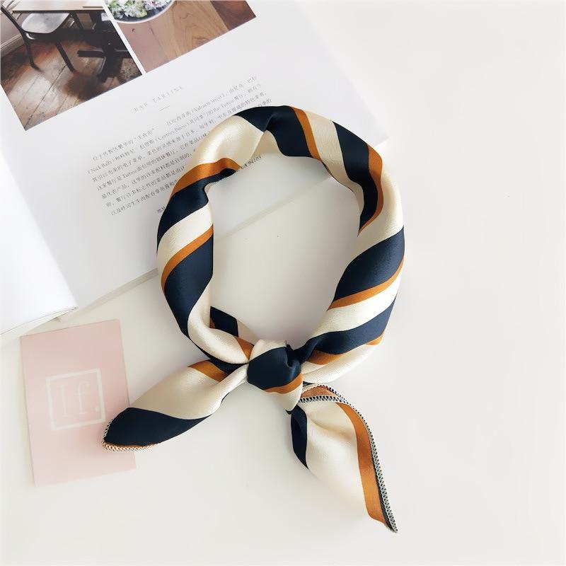Women 50*50 Small Soft Hair Tie Band Decorative Multifunctional Head Scarf Multicolor Stripe Print Kerchief Neck Elegant Square