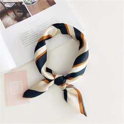 Женский 50*50 маленький мягкий ободок для волос декоративный многоцелевой шарф для головы многоцветный полосатый принт платок на шею