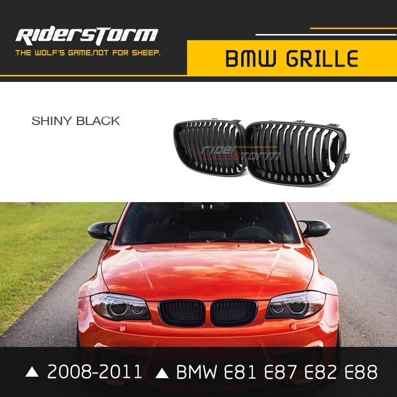 Riderstorm Replacement Auto Front Grill for BMW 1 Series E81 E82 E87 E88 Racing Grille 116i 118i 120i 125i Matte Glossy Black 15pc error free led interior reverse light kit for bmw 1 series e87 e81 116i 118d 118i 120d 120i 123d 130i 135i 03 11