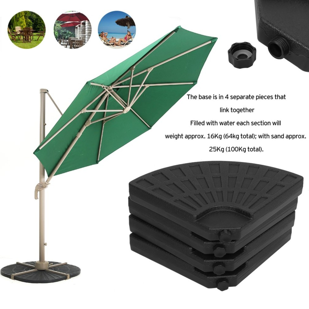 4PCS Heavy Duty Fan-shaped Sand / Water Filled Plastic Patio Umbrella Base Stand Outdoor Furniture Parasol Garden Umbrella Stand