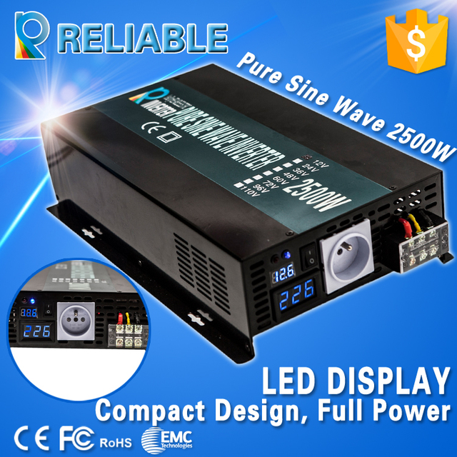 Digital LED Display Off Grid Solar System Inverter 2500Watt 12V/24V/48VDC Converter Pure Sine Wave Power Car Inverter Generators