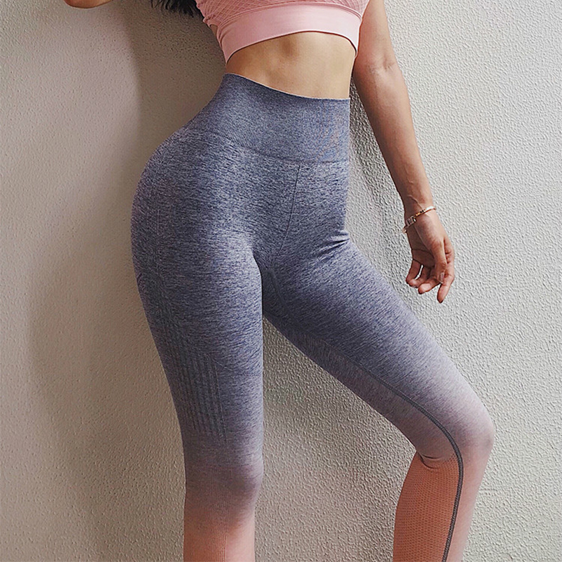 f206ea868ab0c Colorvalue Ombre Seamless Gym Compression Tights Women Tummy Control  Fitness Workout Leggings Squatproof Hip Up Jogger Pants-in Yoga Pants from  Sports ...